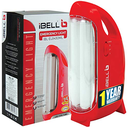 iBELL 8430 Premium Rechargeable Emergency Light with Bright LED Tube(White and Red)