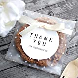 Vasdoo Self Adhesive Treat Bag Cellophane Bag Cookie Bag, White Polka Dot Party Favor Bag for Bakery, Candy, Cookie (3.9 x 3.9 inches, 100 Pcs)