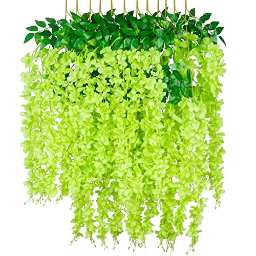 GPARK 12 Pack /45 inch /3.7ft Wisteria Artificial Fake Flower Bushy Silk Vine Ratta Hanging Garland for Wedding Party Garden Outdoor Greenery Home Wall Deco Green