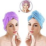 Serviette Cheveux Turban, Kapmore 2 Serviette en Microfibre Séchage Rapide Cheveux Wrap et Double Couche Étanche Élastique...