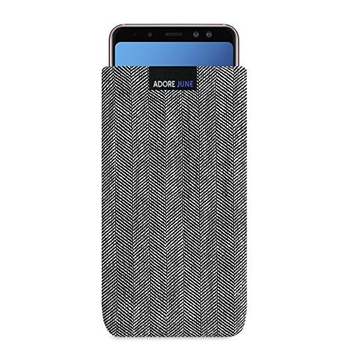 Adore June Business Tasche für Samsung Galaxy A8 2018 Handytasche aus charakteristischem Fischgrat Stoff - Grau/Schwarz | Schutztasche Zubehör mit Bildschirm Reinigungs-Effekt | Made in Europe