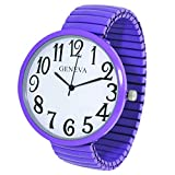 Geneva Super Large Stretch Watch Clear Number Easy Read (Lavender)