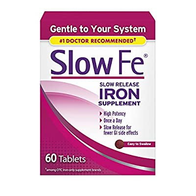 Slow Fe 45mg Iron Supplement for Iron Deficiency, Slow Release, High Potency, Easy to Swallow Tablets - 60 Count (Pack of 3)