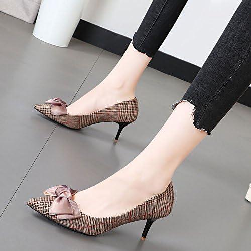 Xue Qiqi points de noeud papillon à la lumière de la haute-chaussures de talon et élégante grille doux de tissu fin avec les chaussures femmes