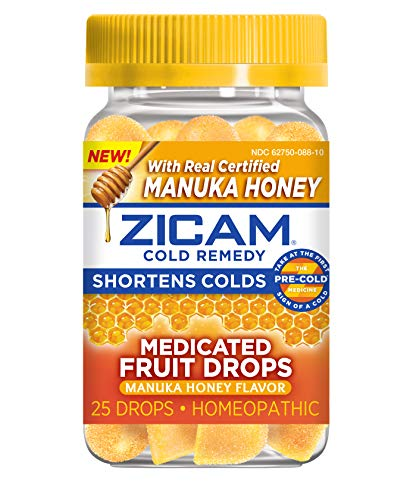 Zicam Cold Remedy Medicated Fruit Drops, Manuka Honey, 25 Count (Pack of 1)