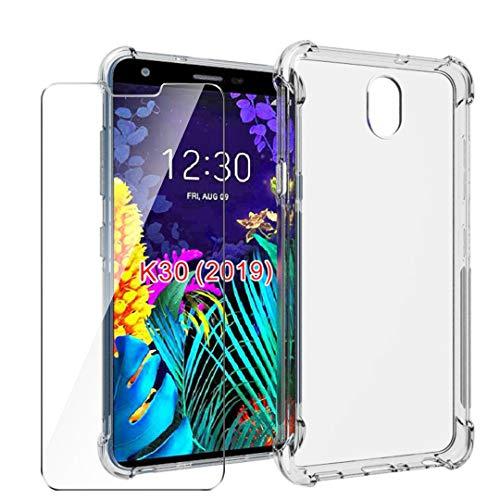 HYMY Funda para LG K30 2019 + 1 x Cristal Templado - Transparente Tapa TPU Silicona [Refuerzo de Cuatro Esquinas, Absorción de Golpes] Caso Carcasa para LG K30 2019 (5.45