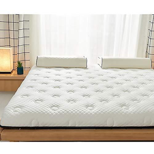 MKMKT Colchón de látex Natural de tamaño Completo, colchón de Espuma viscoelástica, tapete de Tatami Grueso, diseño ergonómico, Puede aliviar el Dolor de Espalda, Blanco,10cm Thickness,135x200cm