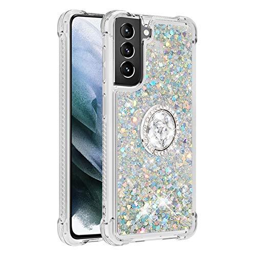 Carcasa para Samsung Galaxy S21 + 5G/S21 Plus 5G, brillante cristal diamante anillo soporte de teléfono líquido degradado transparente silicona TPU carcasa antigolpes (plata)
