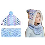 2mason Children's Hooded Warmer Beanie Hat and Shawl Integrated Sky Blue