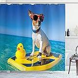 ABAKUHAUS Badeente Duschvorhang, H& Ente Surfen, Set inkl.12 Haken aus Stoff Wasserdicht Bakterie & Schimmel Abweichent, 175 x 200 cm, Multicolor