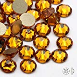 PENVEAT 6 Colores SS16 SS20 (16 Caras Cortadas) Pegamento de Vidrio de Cristal no Plano en Diamantes de imitación para Prendas de Vestir, Oro Amarillo, SS20 (4.8-5.0mm)