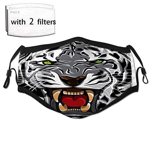 Anti-Dust Outdoor Bandana Mask White Tiger Roaring