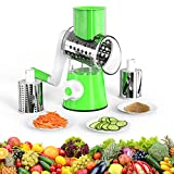 Rotary Cheese Grater, Vegetable Chopper Fruit Cutter Cheese Shredder Mandoline Slicer with 3 Stainless Steel Rotary Blades and Suction Cup Feet