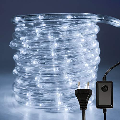 Hengda LED Lichterschlauch, Kaltweiß 10M 240 LEDs Aussen LED Schlauch mit 8 Modi und Timer, Wasserdicht Lichtschlauch für Außen Innen Garten Party Hochzeit Weihnachts Deko