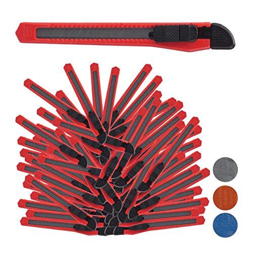 Relaxdays Cuttermesser 100er Set, sicheres Einrasten, 9mm Abbrechklingen, Messer für Kartons & Tapete, zum Basteln, rot
