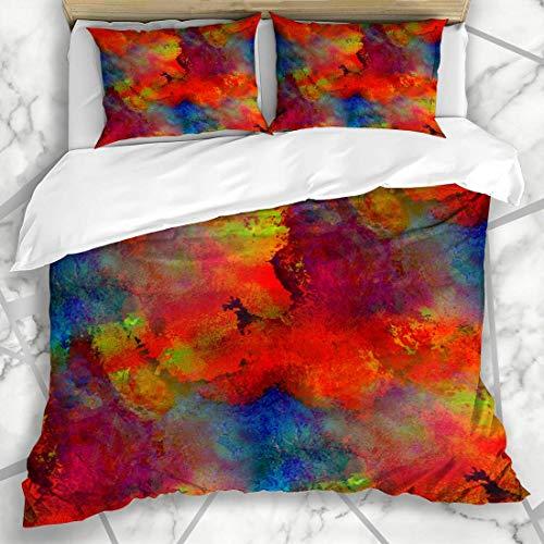 Juegos de fundas de edredón Naranja líquida Pintura de primavera Rojo Azul Amarillo Aqua Banda Patrón Morado Abstracto Pincel Lavado Acuarela Ropa de cama de microfibra con 2 fundas de almohada Cuidad
