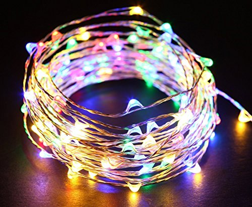 Multicolored Fairy String Lights, 33 Ft 100 Led Waterproof Starry Firefly String Lights Plug in on Silver Wire, Perfect for Crafts DIY Christmas Party Wedding Bedroom Indoor Decorations