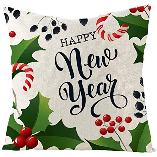 Homxi Funda de Cojines 40 x 40,Fundas de Lino para Cojines Happy New Year Conos de Pino,Fundas Navideñas para Cojines Decorativos Blanco Verde