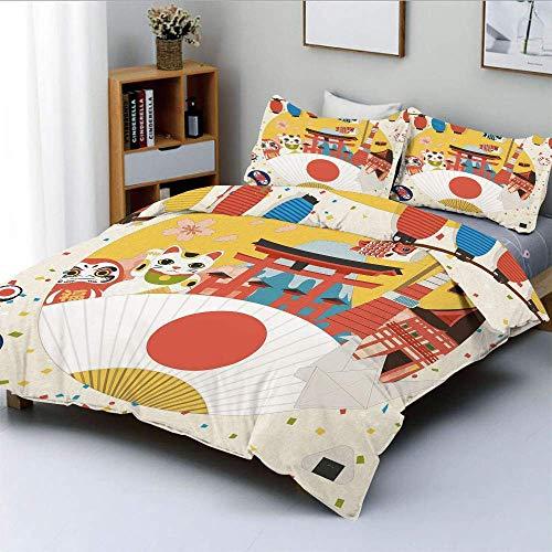 Juego de funda nórdica, patrón comercial de inspiración japonesa, varios artículos de la cultura asiática, juego de cama de 3 piezas con diseño de origami de gato fresco y 2 fundas de almohada, multic