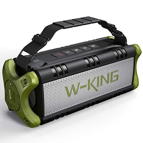 50W(70W Peak) Bluetooth Speakers Built-in 8000mAh Battery Power Bank, W-KING Wireless Outdoor Portable Waterproof TWS, DSP, NFC Speaker, Powerful Rich Bass Loud Stereo Sound (Green)