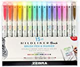 Zebra Mildliner Double Ended Brush Pen & Marker 15/Pkg-Assorted Colors