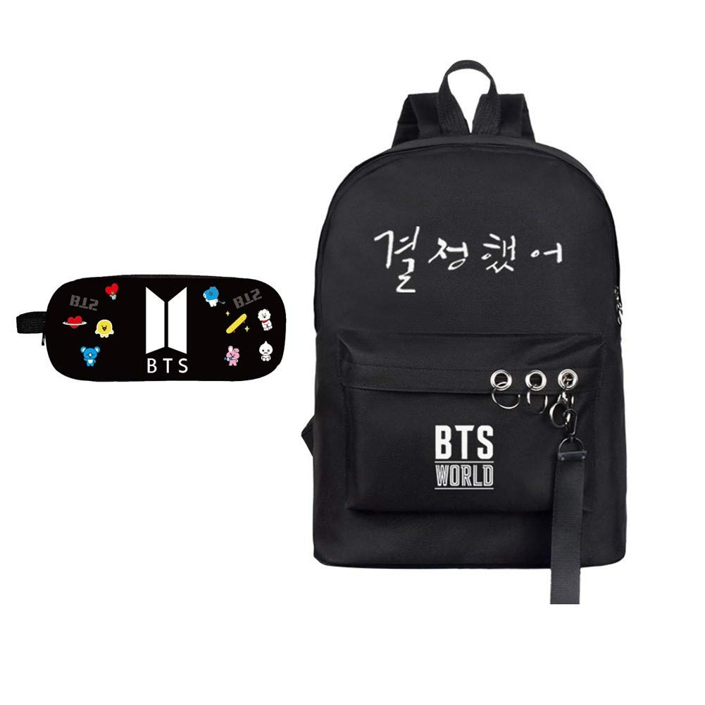 Monifuon Kpop BTS Mochila + estuche BTS para lápices, Bangtan Boys Mochila para laptop, bolsa para oficina, escuela, estudiante, juego de regalo para el ejército, color negro: Amazon.es: Oficina y papelería