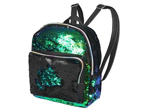 Pailletten Rucksack Glitzer Glitter klein mit Reißverschluss & Schultergurt Wendepailletten von ALSINO, Variante wählen:RUCK-G02 grün schwarz