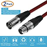 XLR Cable 6ft Male to Female, Furui Microphone XLR Cable 3 Pin Nylon Braided Balanced XLR Cable Mic DMX Cable Patch Cords with Oxygen-Free Copper Conductors - 2 Pack