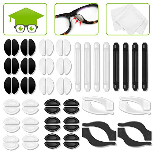Eyeglass Nose Pads, 24 Pairs Soft and Adhesive Silicone Nose Pads, 4 Pairs Hook Grip Holders 4 Pairs Sleeve Retainers, Anti-Slip Nose Pads for Eyeglass, Glasses, Sunglasses, Reading Glasses