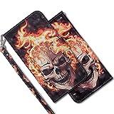 MRSTER Huawei Y6 2018 Handytasche, Leder Schutzhülle Brieftasche Hülle Flip Hülle 3D Muster Cover mit Kartenfach Magnet Tasche Handyhüllen für Huawei Y6 2018 / Honor 7A. RX 3D - Flame Skull