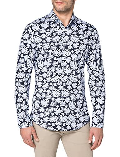 Seidensticker Herren Slim Langarm Poplin Hemd, Blau (Blau 11), (Herstellergröße: 38)