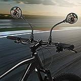 JIPRENS Fahrradspiegel - 2 STÜCKE Fahrrad Rückspiegel 360° Flexibel Konvex MBT Fahrrad Rückspiegel 3D Weitwinkel Rund Spiegel für Lenker 22-32mm Ebike,Fahrrad,Mofa,Mountainbike,Rennräder (2 STÜCKE)