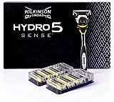 Wilkinson Sword Hydro 5 Sense - Maquinilla De Afeitar De 5 Hojas + 7 Recambios De Cuchillas De Afeitar Con Bandas Energizantes De Menta, color Amarillo, 7 Unidad, 150 g