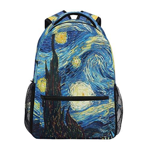 Galaxy Sternenhimmel Nachthimmel Van Gogh Großer Rucksack Personalisierter Laptop iPad Tablet Reise Schultasche mit Mehreren Taschen