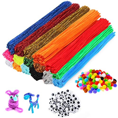 2000+ pcs Pipe Cleaners Craft Supplies,Include 1600pcs Multicolor Pipe Cleaners Chenille Stems, 280pcs Pipe Pompom Balls 150pcs Self-Sticking Wiggle Googly Eyes for DIY School Art Project