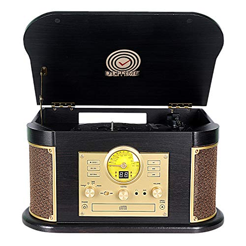 Cassette Record Player,Phonographs DLITIME 3-Speed Vinyl Turntable Built-in 2 Bluetooth Speakers, Headphone Jack/Aux In/RCA/LED/USB/MP3/CD/FM/AM Radio Player