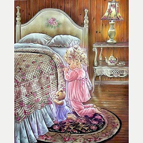 Diamante Pintura Kits, DIY 5D Punto de Cruz Diamante Principiante, pintura para adultos, Linda chica cama lámpara de mesa tetera, 5D Diamond Painting Decoración de la pared del Hogar 30 x 40 cm