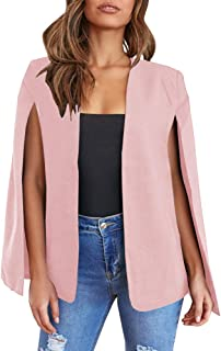 Sponsored Ad - GAMISOTE Womens Cape Blazer Split Sleeve Open Front Casual Jacket Coat Workwear