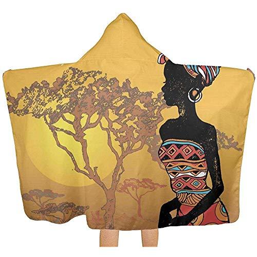 Moily Fayshow Manta de Tiro con Capucha de Mujer Africana, acogedoras Mantas portables cálidas Novedad Capa para niños Adultos 100 x 130 cm