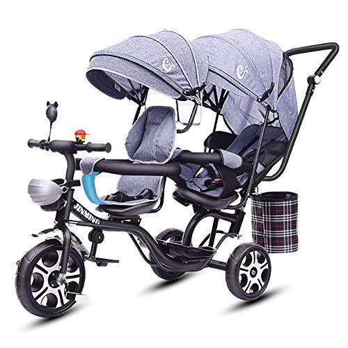 Bébé GUO@ Double Tricycle Jumeaux pour Enfants de Chariot de siège jumeau Poussette siège pivotant inclinable 1-7 Ans Landau