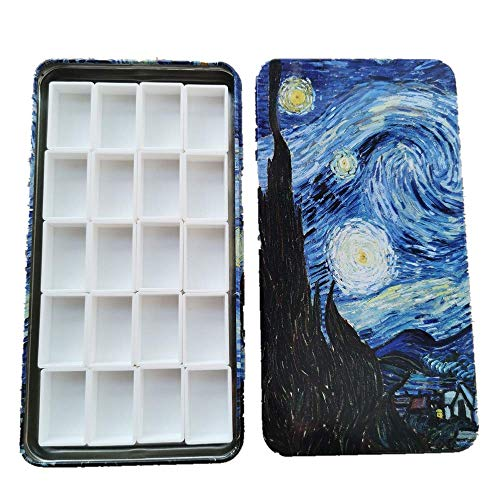 BOOYEE Empty Watercolor Palette Paint Tin Case Starry Night with 20pcs Full Pans Carrying Magnetic Stripe