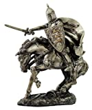 MEDIEVAL KNIGHT ON CAVALRY HORSE CHARGING WITH SWORD STATUE WAR BATTLE FRONT