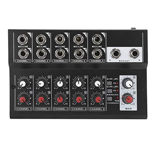 Mezclador de audio de 10 canales, Consola mezcladora de sonido estéreo profesional con 10 entradas de micrófono / cable, Mezclador de sonido portátil para karaoke en casa, grabación de música(EU)