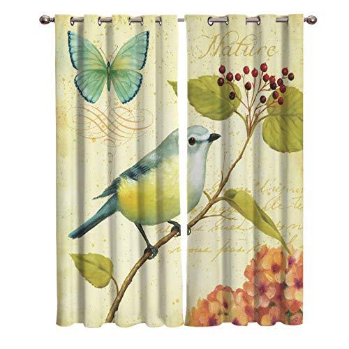 YUANCHENG Oiseaux Papillons Fleurs peinturesRideaux de fenêtre Rideaux panoramiques pour Salon Articles décoratifs Salon