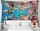 N\A Home Decor Tapestry, Tapices para Colgar en la Pared del hogar Arte para D & Eacute; Cor Sala de Estar Dormitorio Buceo a lo Largo del Cerebro Coral Maldivas Arrecife del Océano Índico