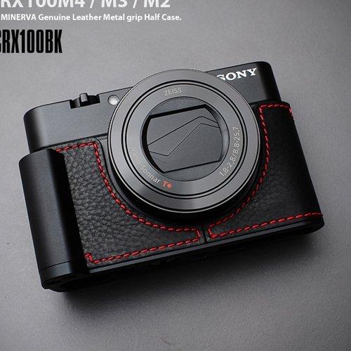 Lim 'sメタルグリップレザーカメラハーフケースle-mhcrx100bk (ブラック/レッド) for Sony rx100?m4?rx100?m3?rx100?m2
