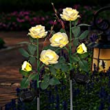 FORUP 2 Pack Solar Garden Stake Lights, Outdoor Solar Rose Flower Lights with 6 Rose Flowers, LED Rose Solar Powered Lights for Patio, Lawn, Garden, Yard Decoration (White)