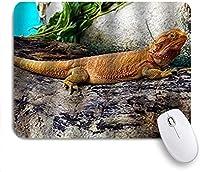 巨大な木製のひげを生やしたドラゴンの野生生物に印刷されたマウスパッドのトカゲ、ゲームプレーヤーのオフィスのための装飾的なマウスパッド、机の装飾、9.5x7.9インチ
