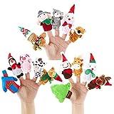 15pz Pupazzetti Natalizi Marionette da Dita Burattini da Mano Pupazzo di Neve Pan Zenzero Giocattoli Animaletti Peluche Piccoli Regalo per Natale Compleanno Party