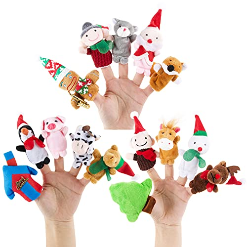 15pcs Marionetas de Dedos de Navidad Títeres de Dedos Juego Lindos Dedos Muñecas Juguetes Pequeños de Mano Interesante para Niños Regalo de Cumpleaños Regalo Fiesta de Navidad